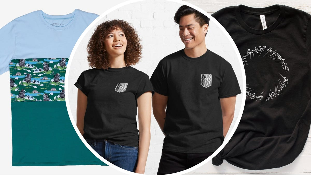 A blue and green t-shirt, two people wearing black t-shirts with Attack on Titan logo, and a black t-shirt with a Lord of the Rings Elvish circle