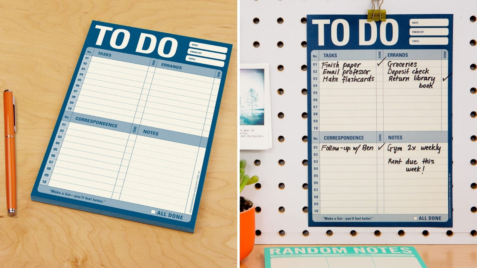 A to-do list notepad sits on a table; A to-do list notepad is hung on a wall.