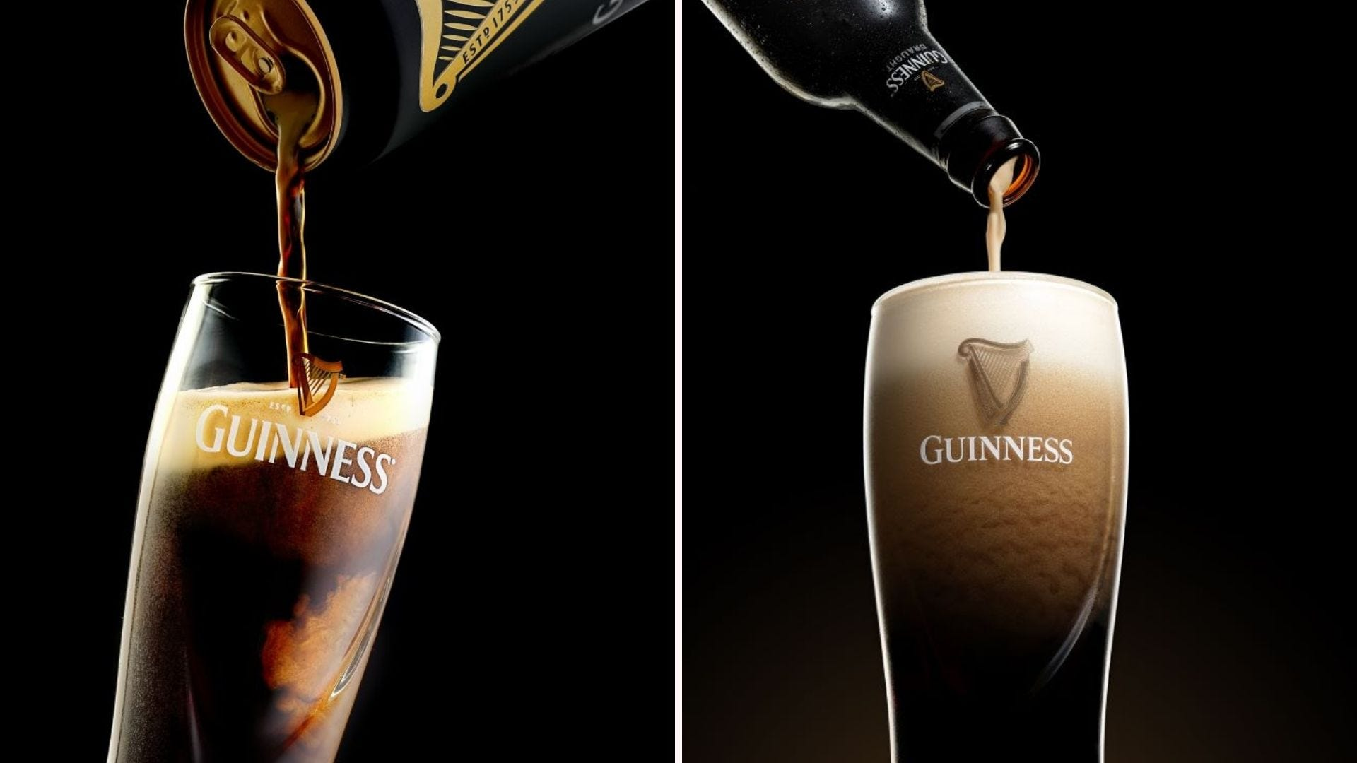Guinness beer being poured correctly on the left and incorrectly on the right.