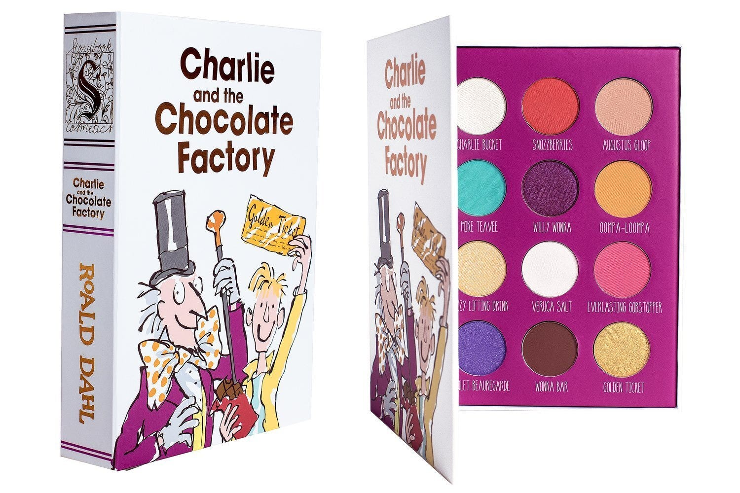 "A ""Charlie and the Chocolate Factory"" cover, opening to show a multicolored eyeshadow palette"