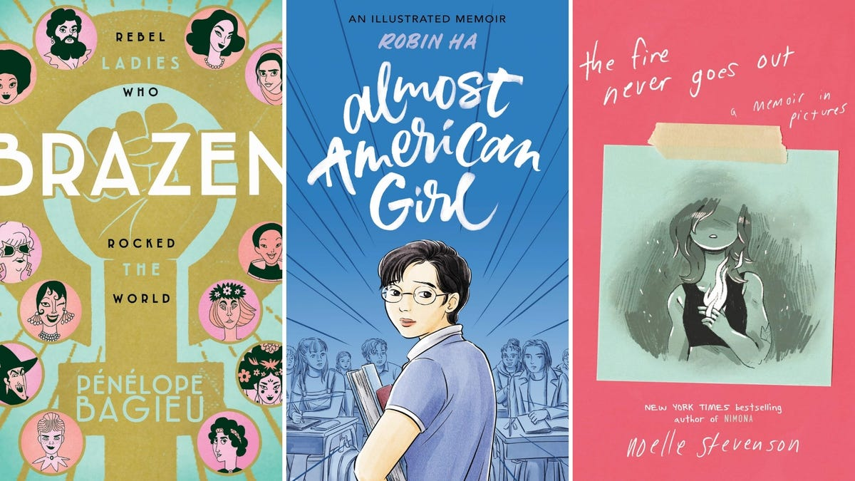 Tri-fold of three books: Brazen, Almost American Girl, and The Fire Never Goes Out