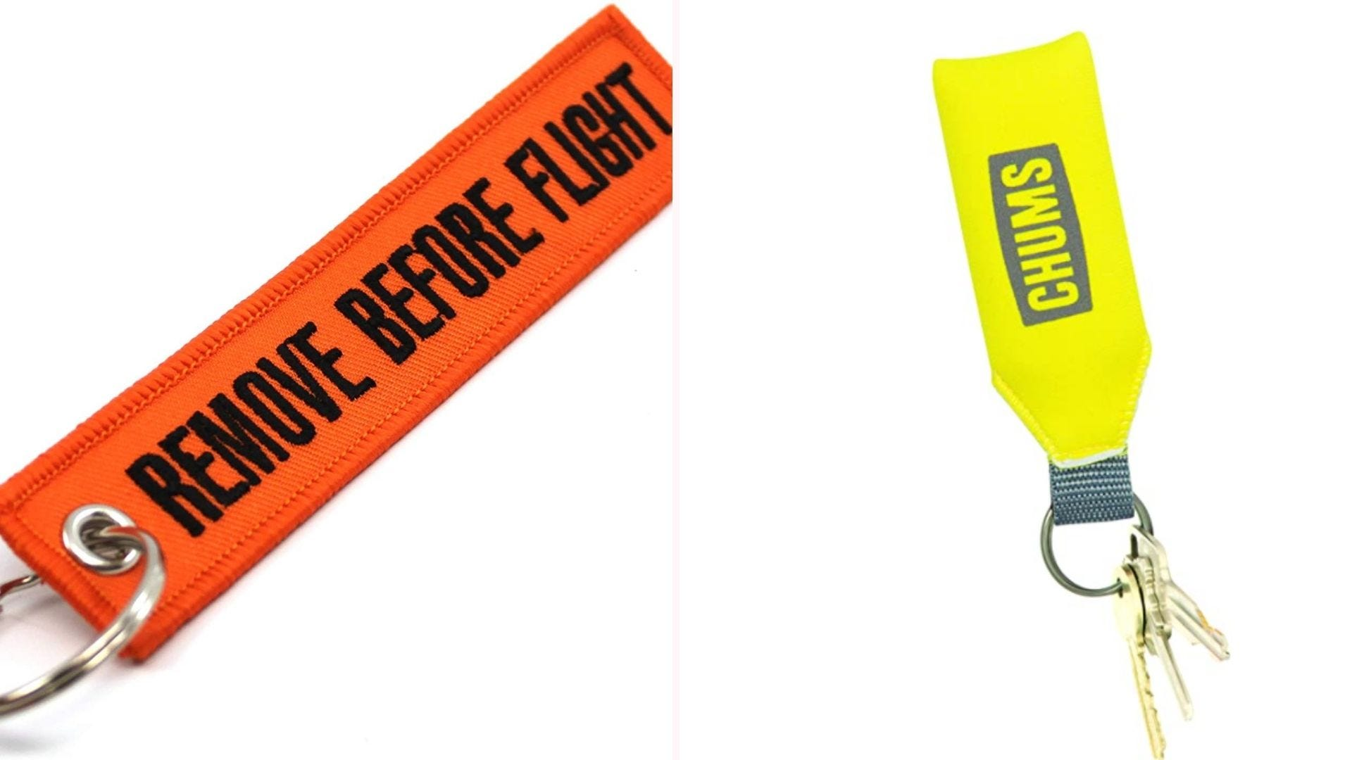 Brightly colored keychains