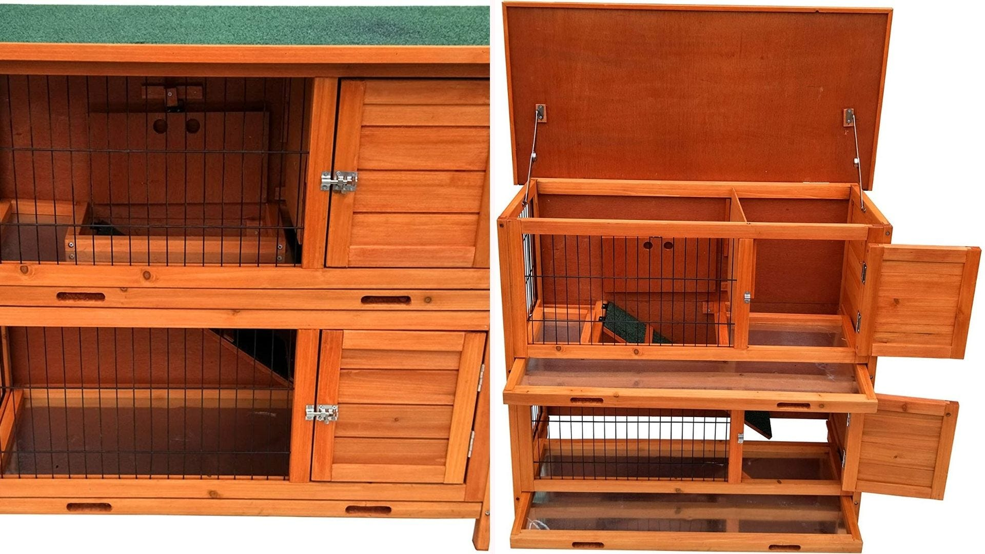 A two-story rabbit hutch.