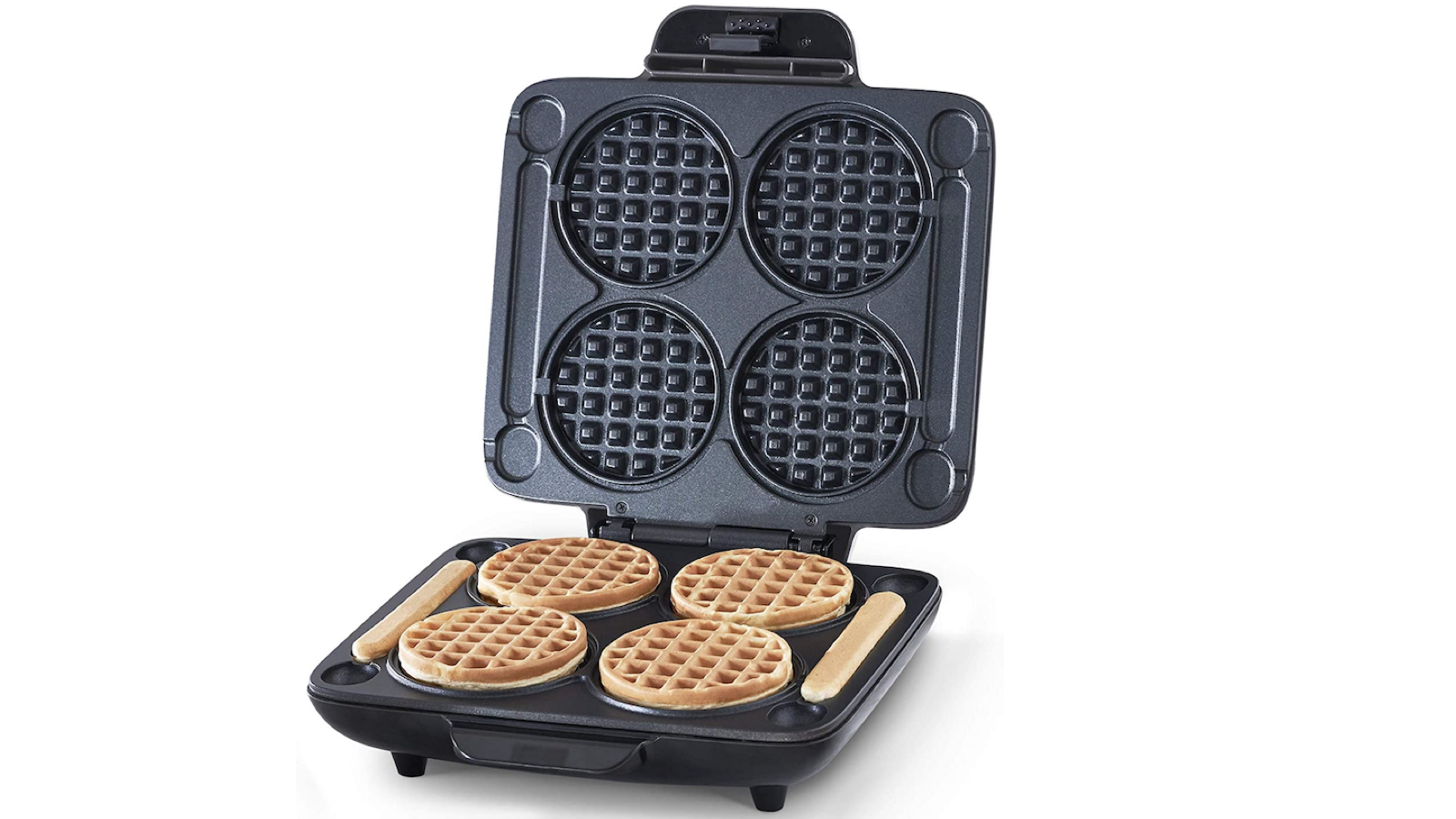 square black waffle maker with four waffles cavities and two long side slots