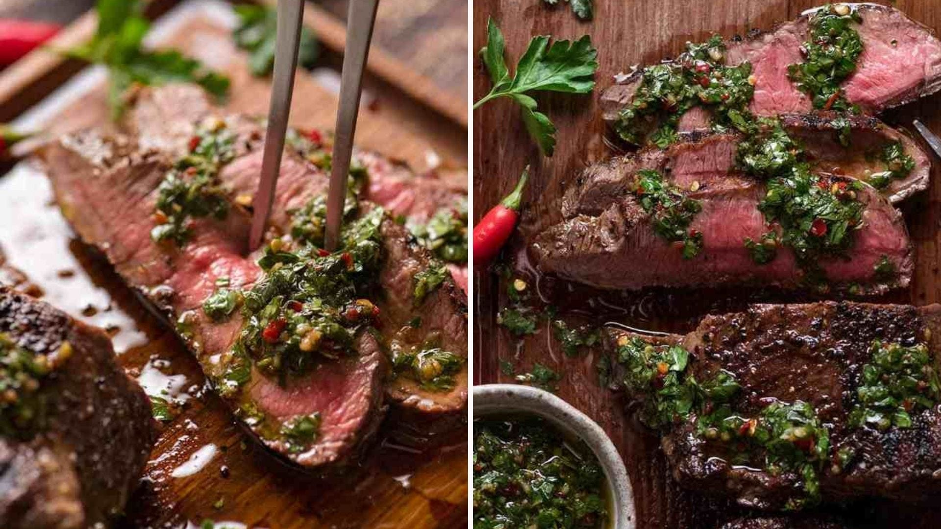Two images of skirt steak cooked medium rare topped with fresh chimichurri sauce, sliced and ready to eat.