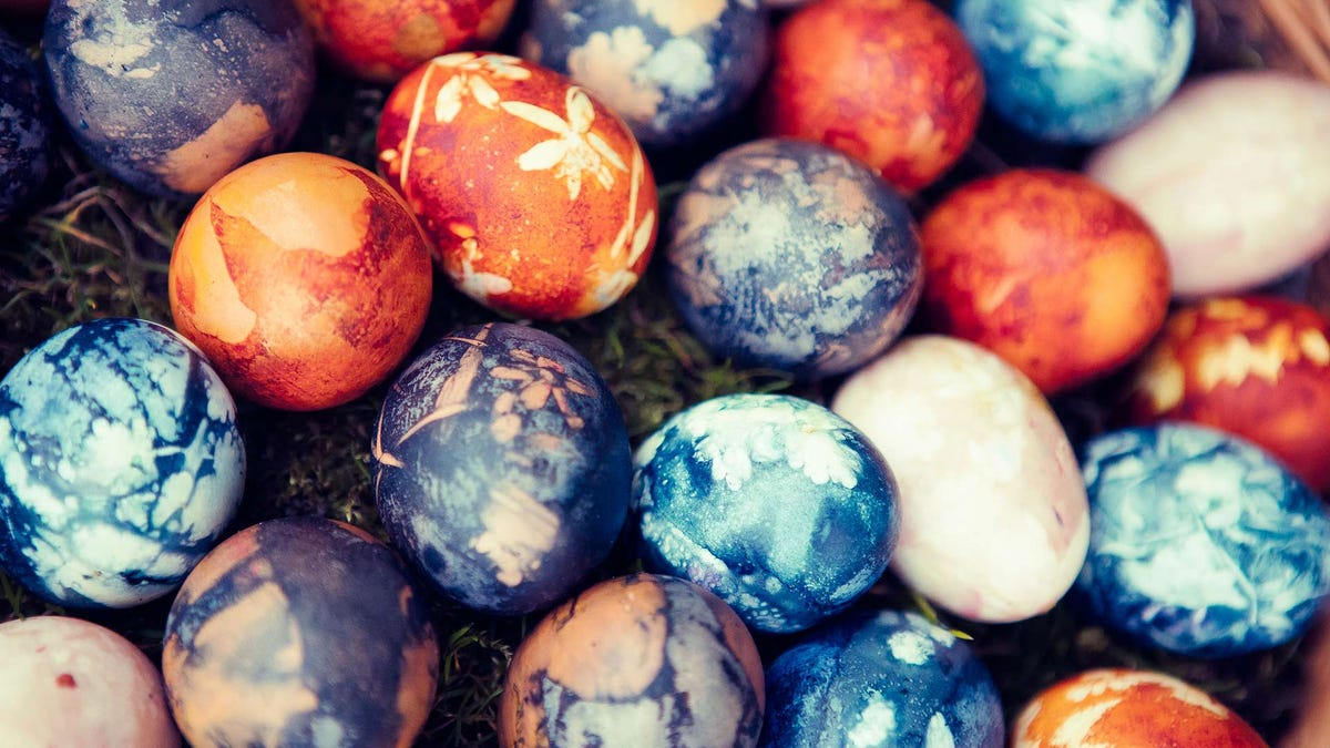 Easter eggs dyed with natural dyes.