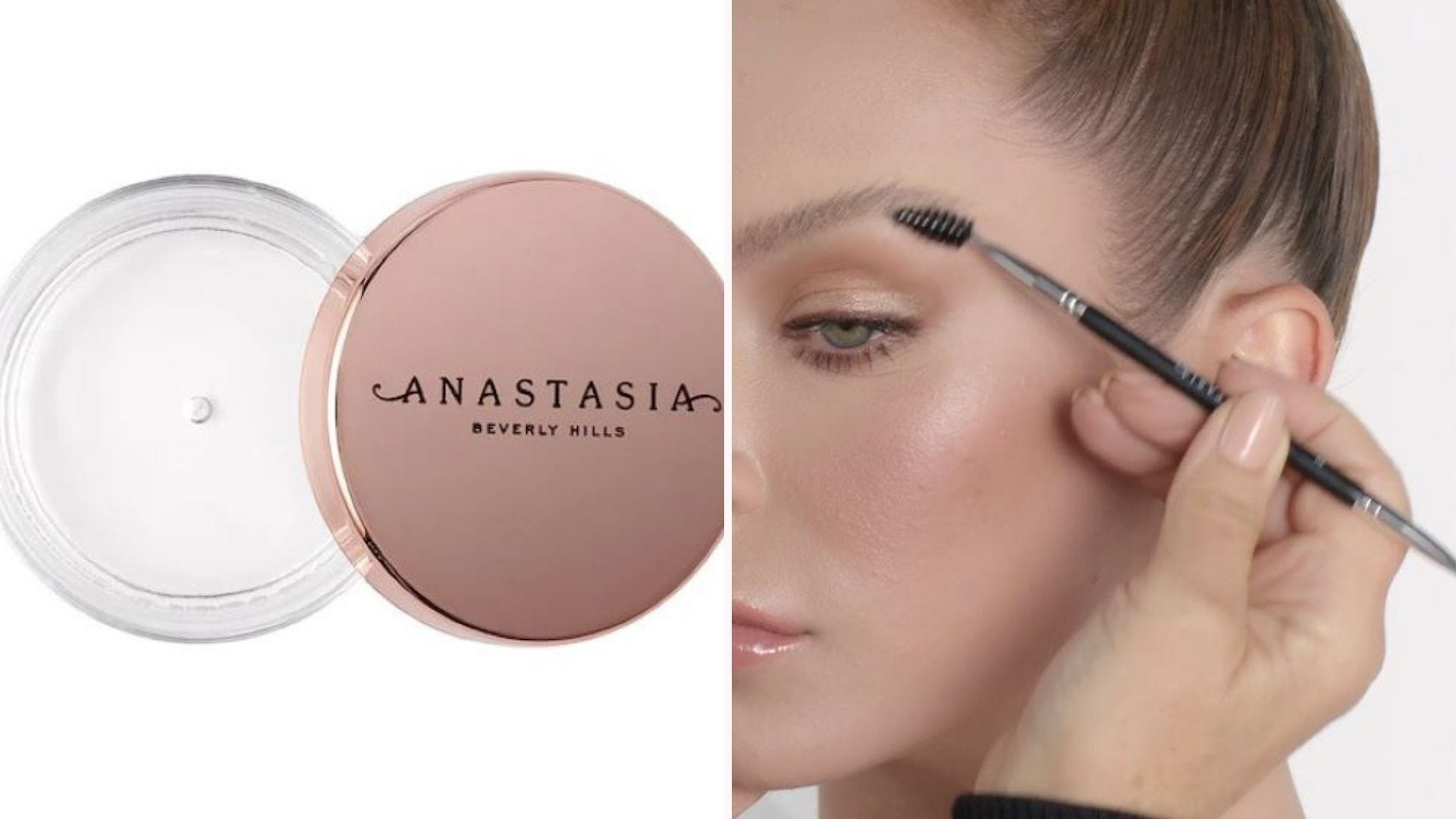 The Anastasia Brow Freeze Styling Wax and someone applying it to a woman's eyebrow with an applicator.