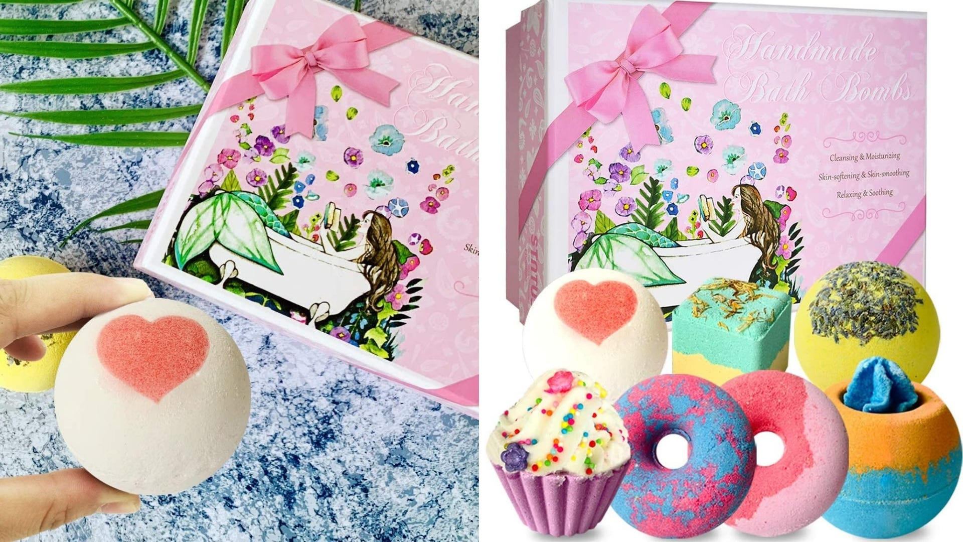 A person holds a bath bomb over the package; Seven different bath bombs are shown.