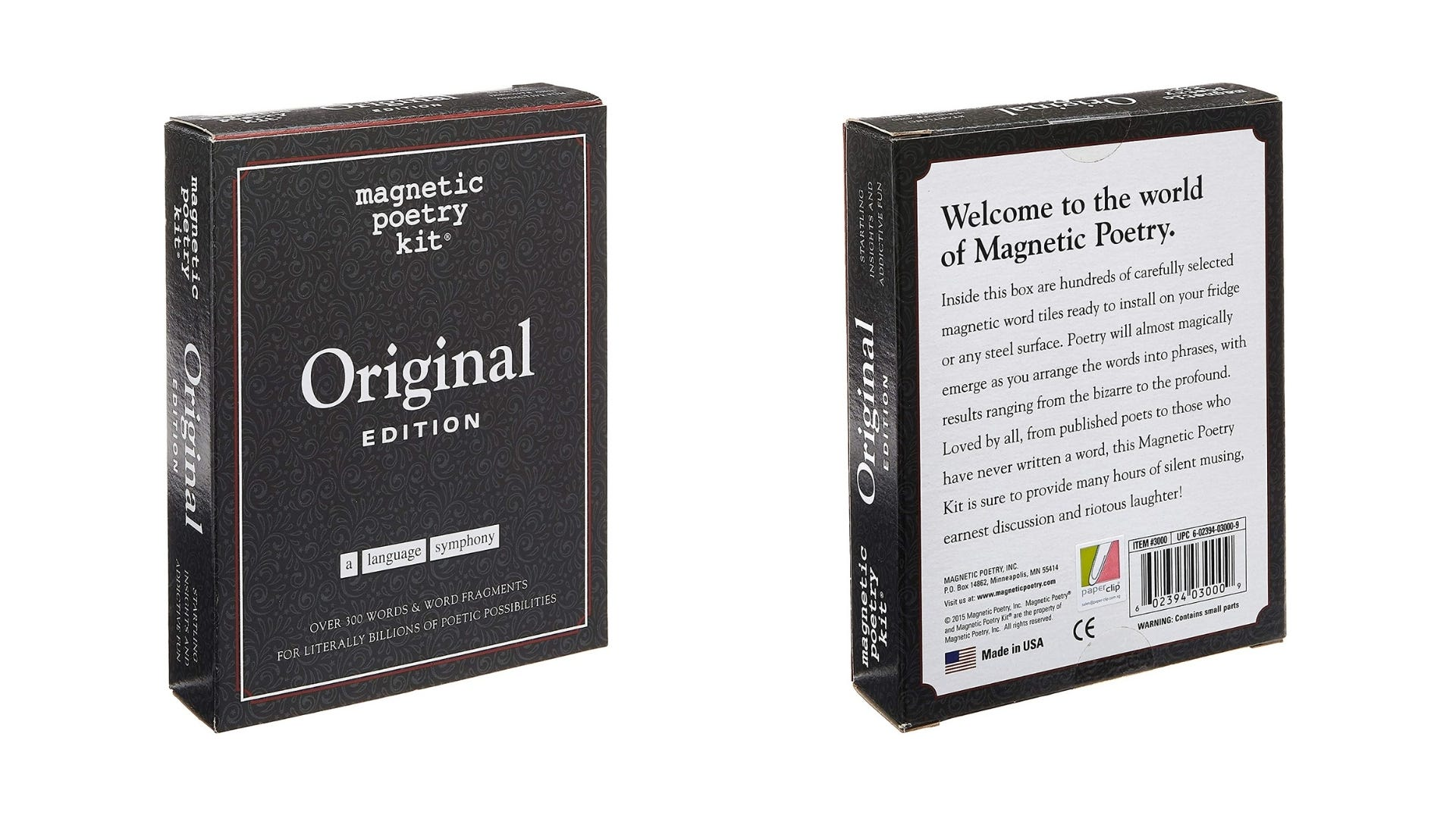 The front and back of the original Magnetic Poetry Kit