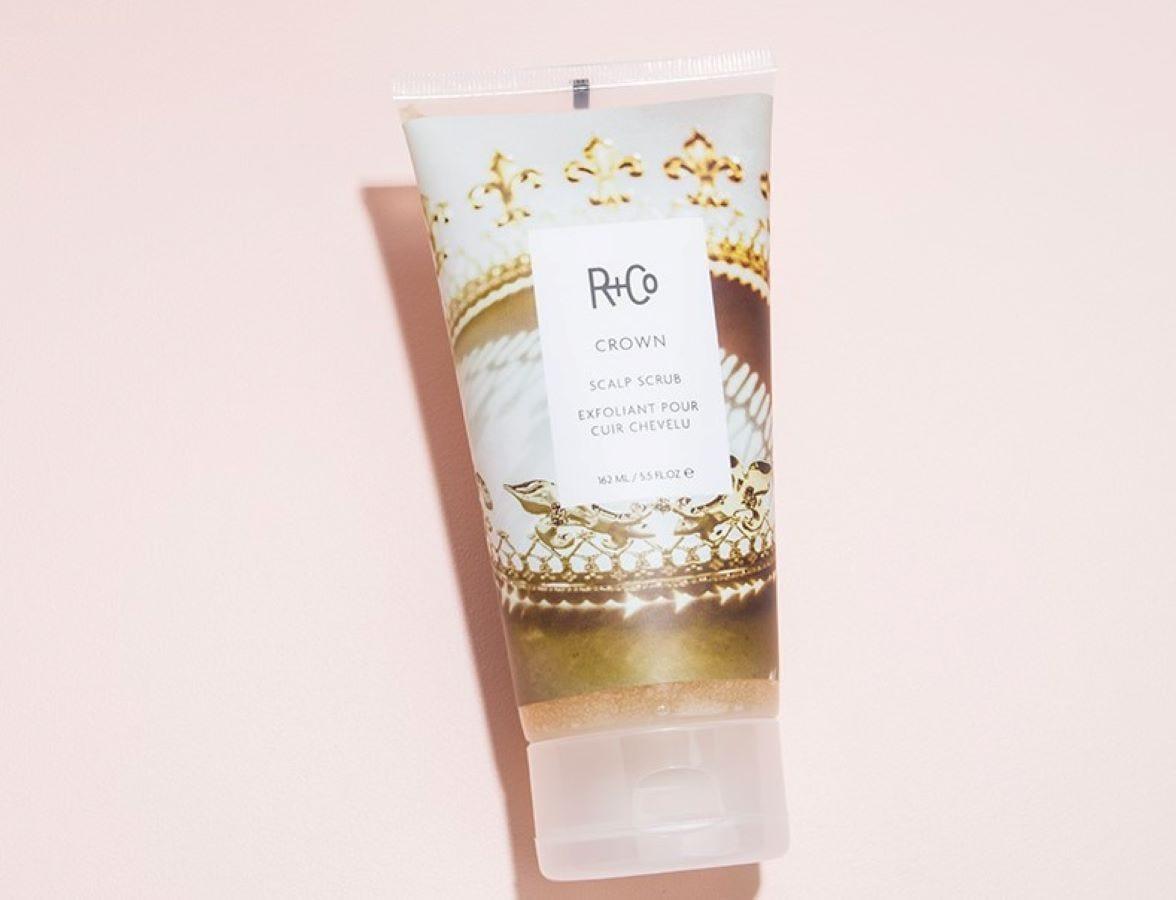 A tube of R+Co Crown Scalp Scrub.