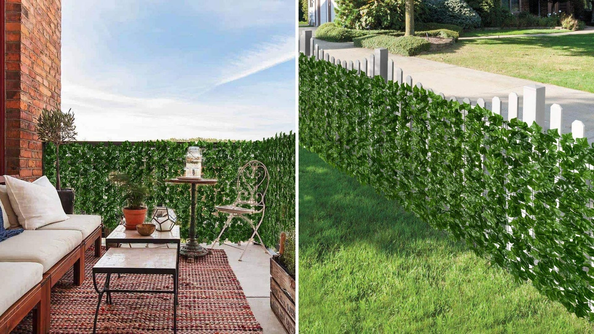 An apartment balcony with an artificial ivy screen on the railing and an ivy screen on a fence.