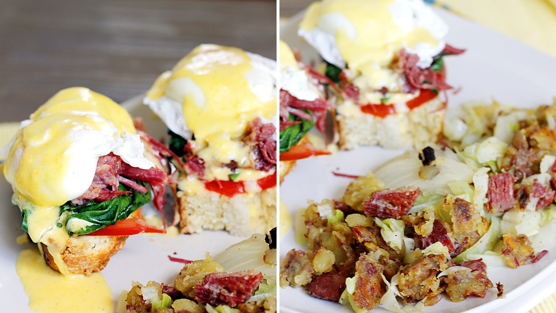 Eggs Benedict sitting next to a hash made with potatoes and cabbage.