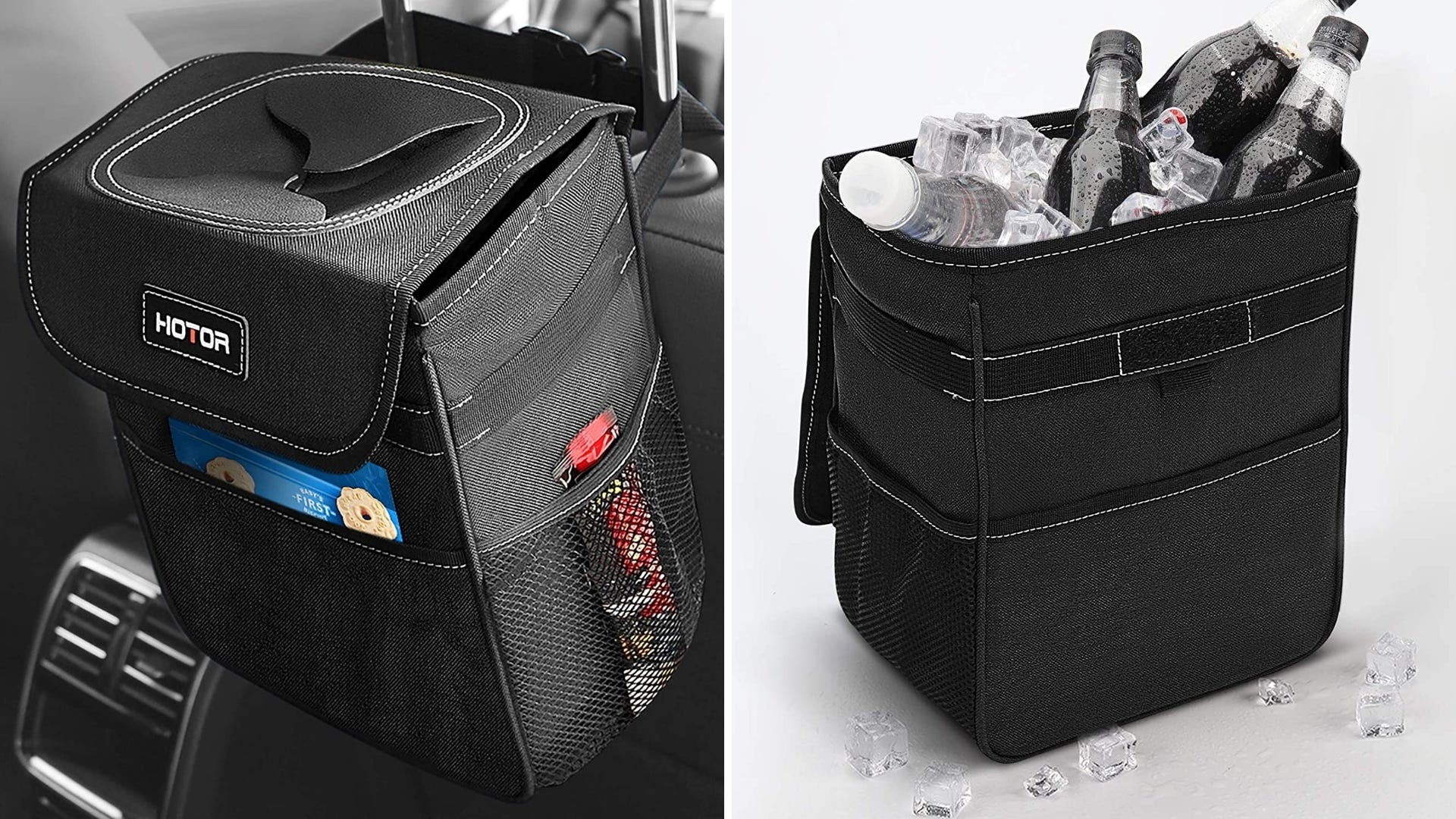 Car trash can hanging from back of seat and filled with soda bottles