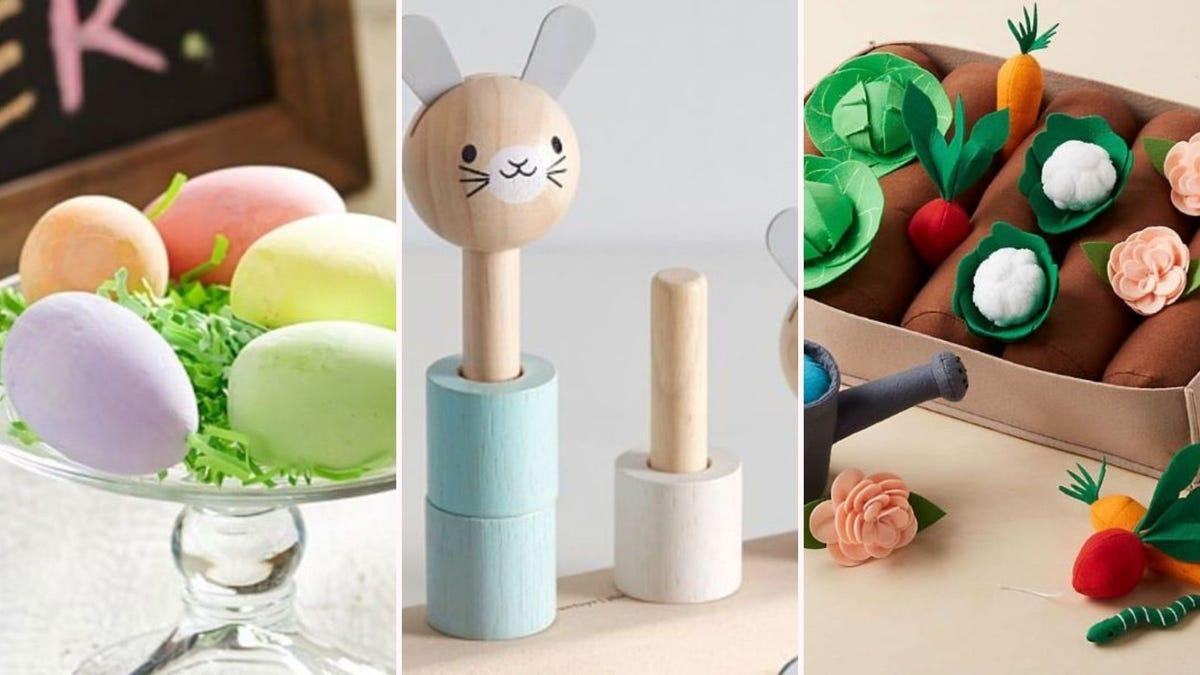 Easter eggs, a wooden rabbit, and a felt gardening set.
