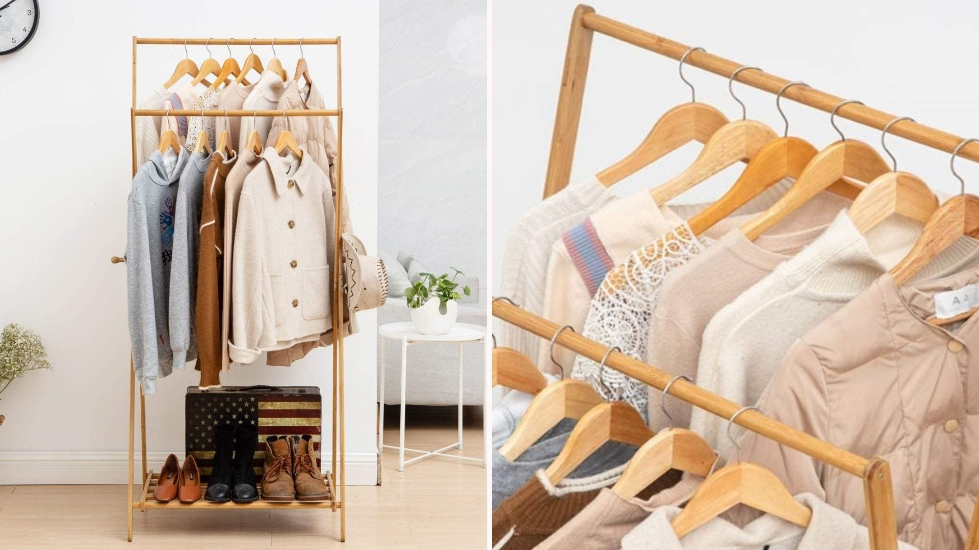 A foldable clothing rack with clothes on it.