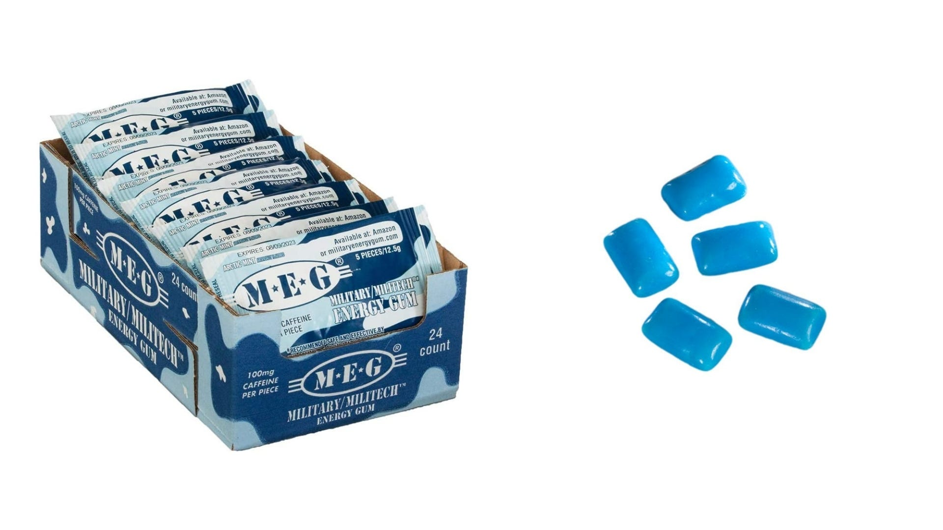 A box of caffeinated gum and five pieces of blue gum.