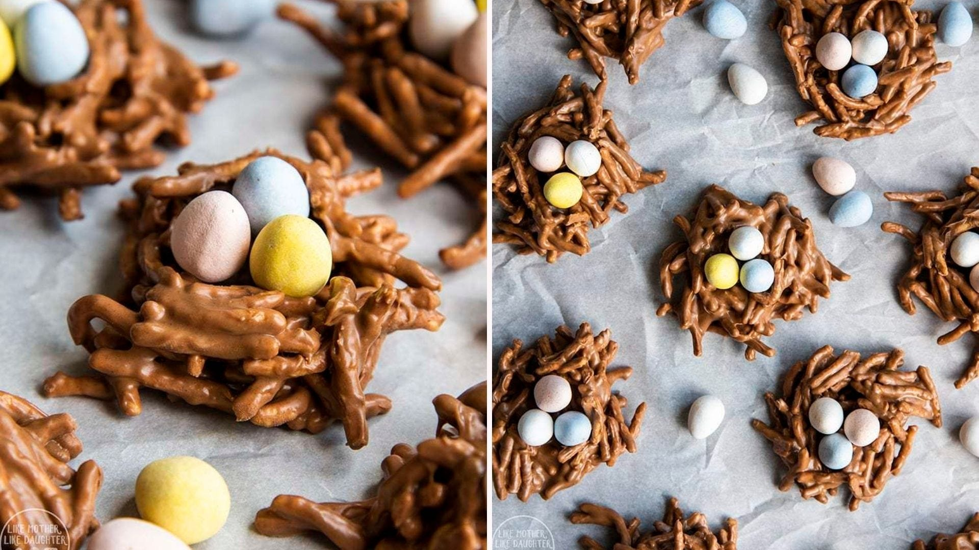 Two image of chow mien bird's nest cookies topped with Cadbury eggs. The left image is a close up and the right image is a over shot.