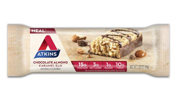 A 1.69-ounce Atkins protein bar that features 15 grams of protein dispersed between chunks of almond, peanut butter, and a chocolate drizzle.