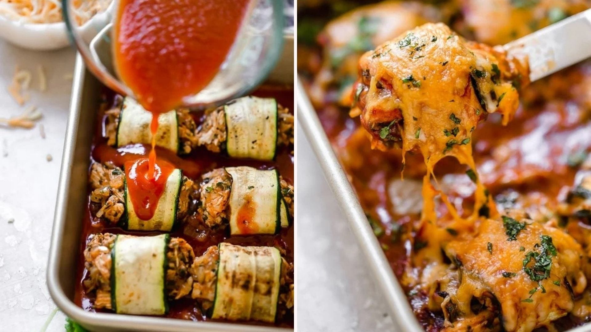 Two images: The left image is of marinara sauce being drizzled over zucchini chicken enchilada roll-ups and the right image is of hot baked enchilada rollups topped with loads of melty cheese.