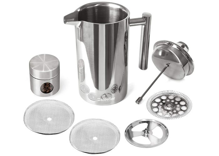 Stainless steel French press coffee maker with lid, bean canister, and deconstructed three layer filter surrounding it