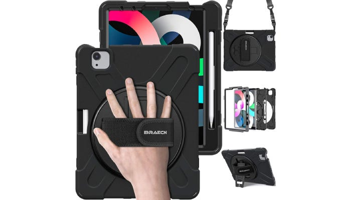 a hand slipped into a case with a velcro strap loop on the back; extra accessories are displayed on the side