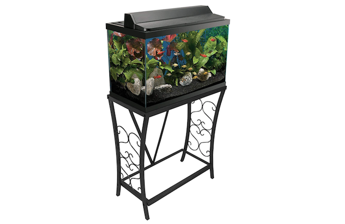 black metal aquarium stand with decorative legs and topped with a tank full of water and colorful fish