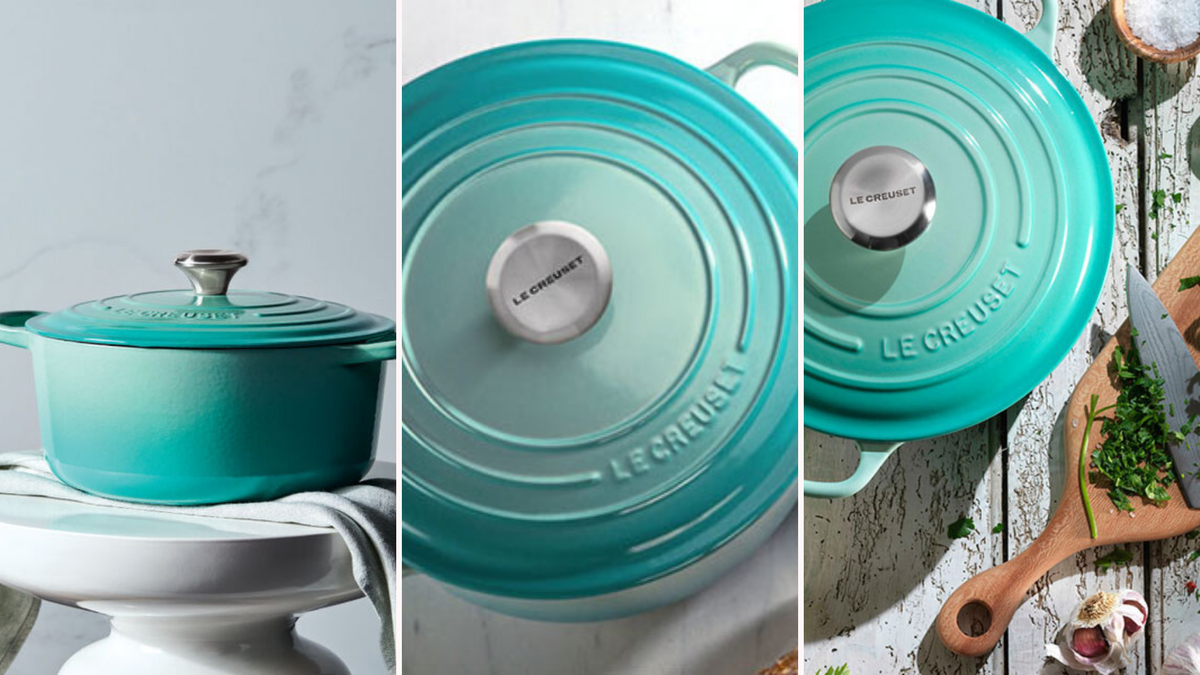Three photos show Le Creuset's new dutch oven sitting on a pedestal and surrounded by herbs.
