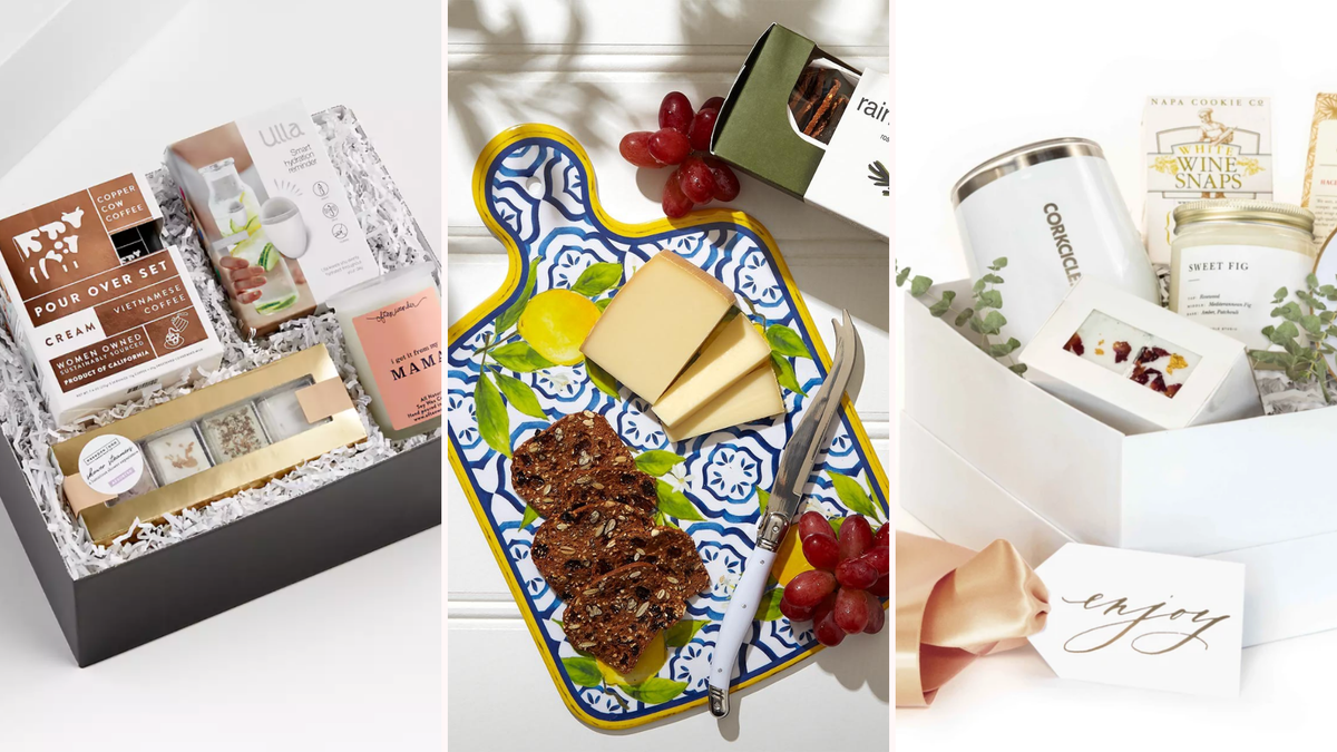 three different photos of gift boxes, one with a variety of items, one with a cheeseboard, and one with all white items