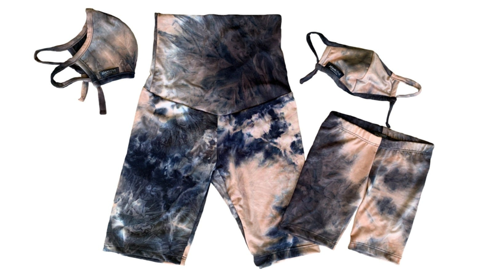 blue and pink tie-dye bike shorts for adults and kids with matching face masks
