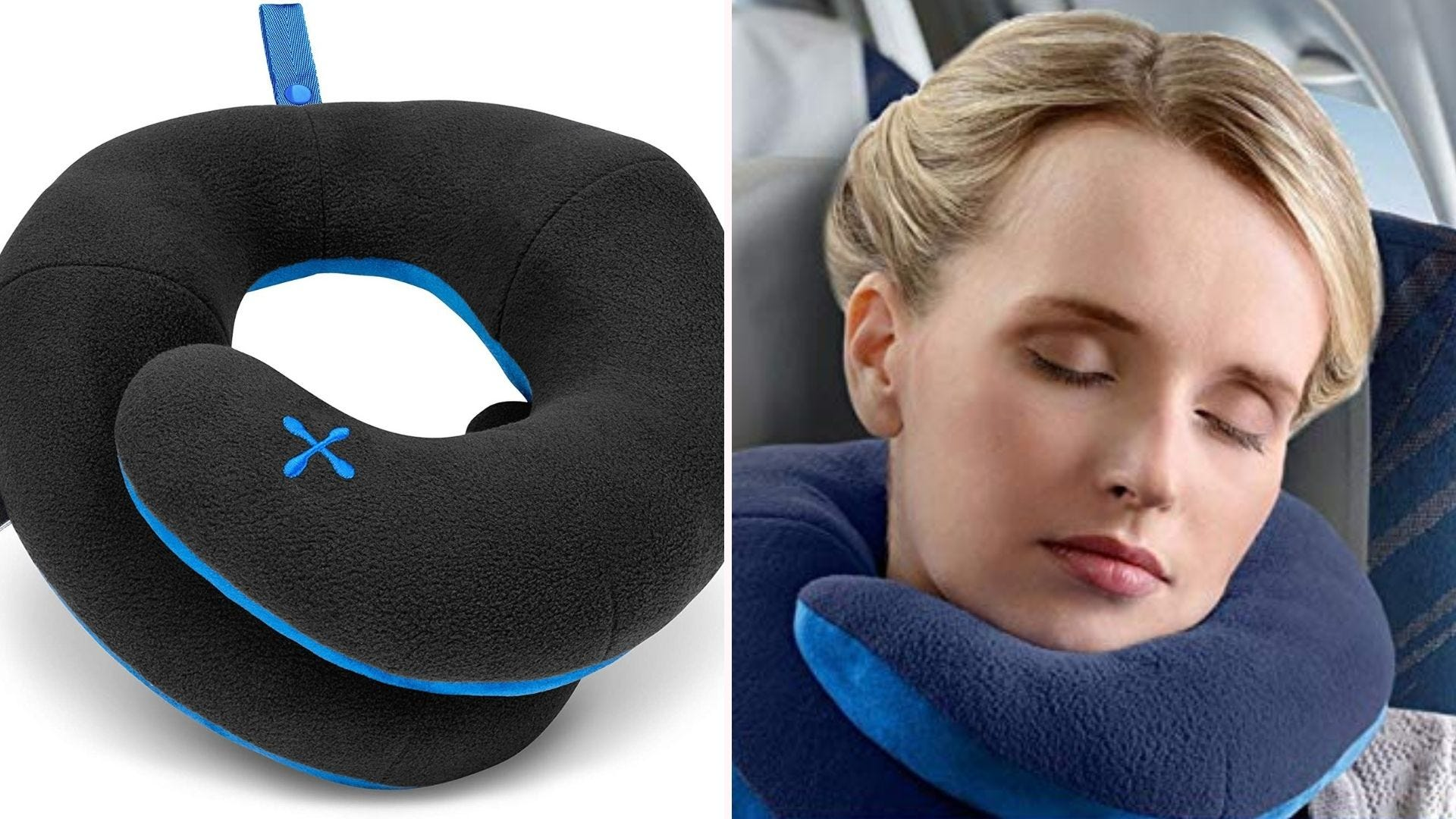 On the left a BCOZZY travel pillow and on the right a woman with the pillow on an airplane.