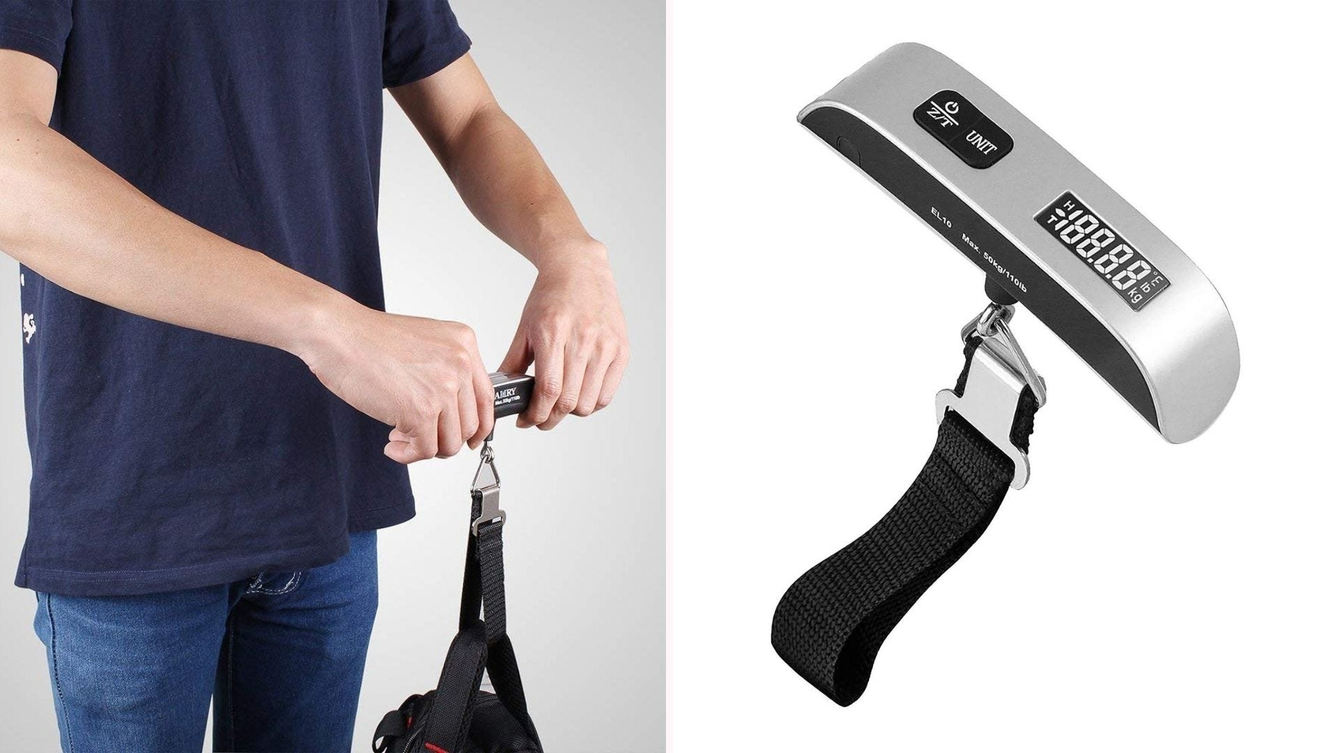 On the left a man using a Camry luggage scale, on the right only a luggage scale.