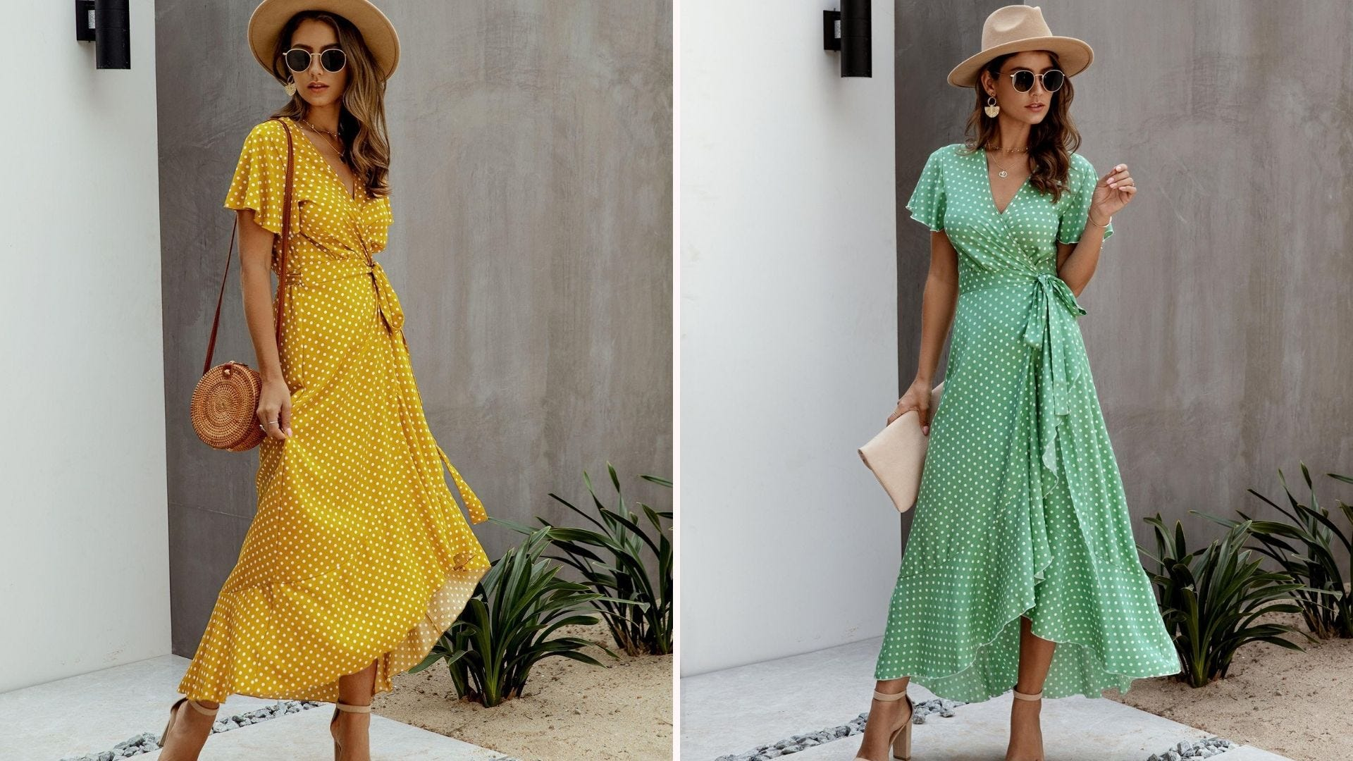 A woman in a yellow polka dot wrap dress; a woman in a green polka dot wrap dress