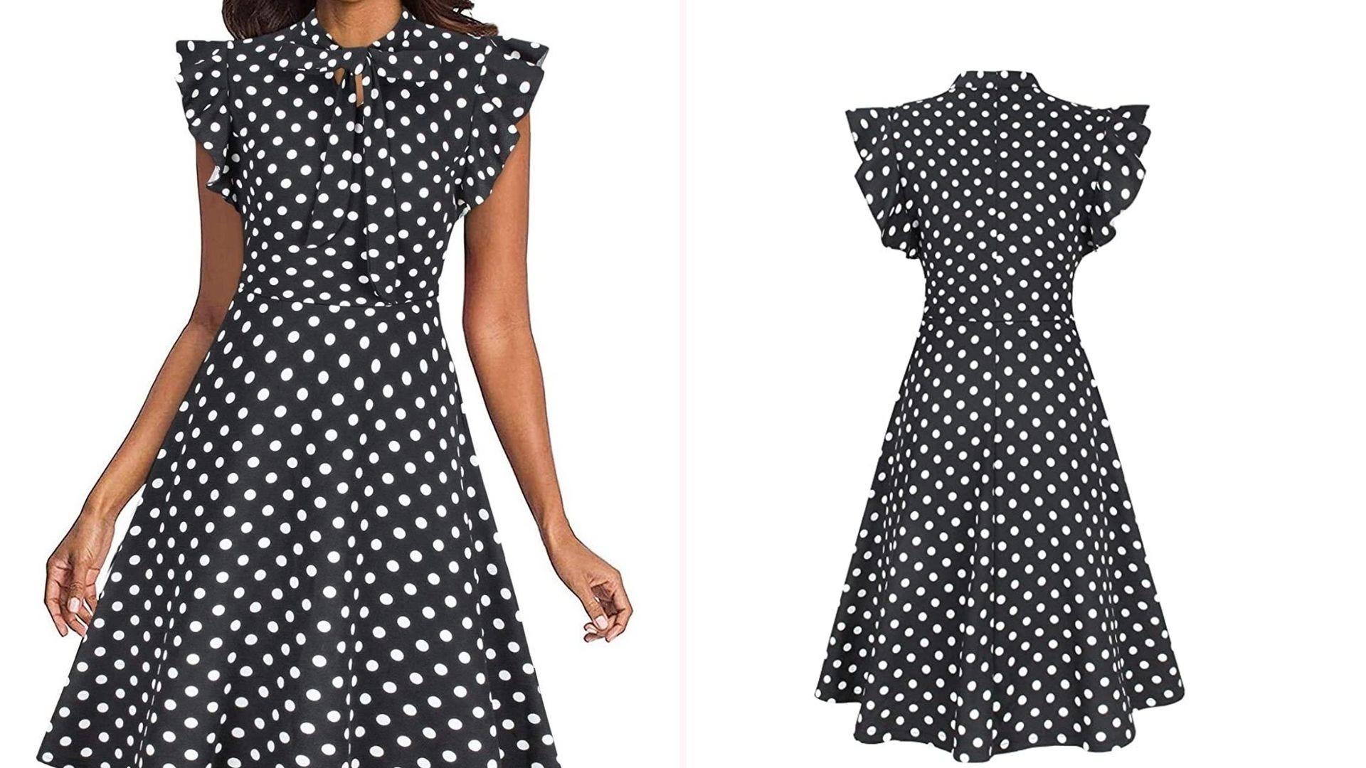 A woman wearing a black and white polka dot dress