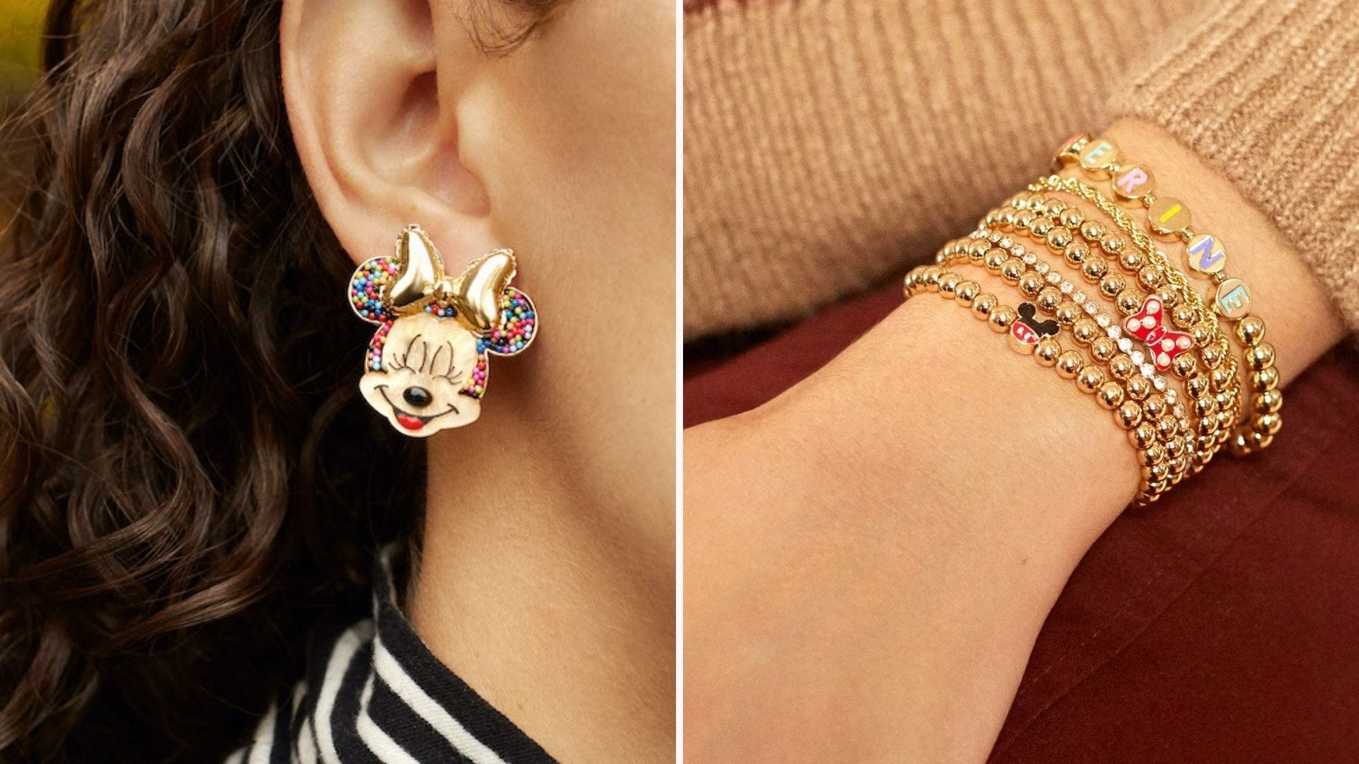 A woman wearing a Minnie Mouse earring; a wrist with stacked Disney bracelets