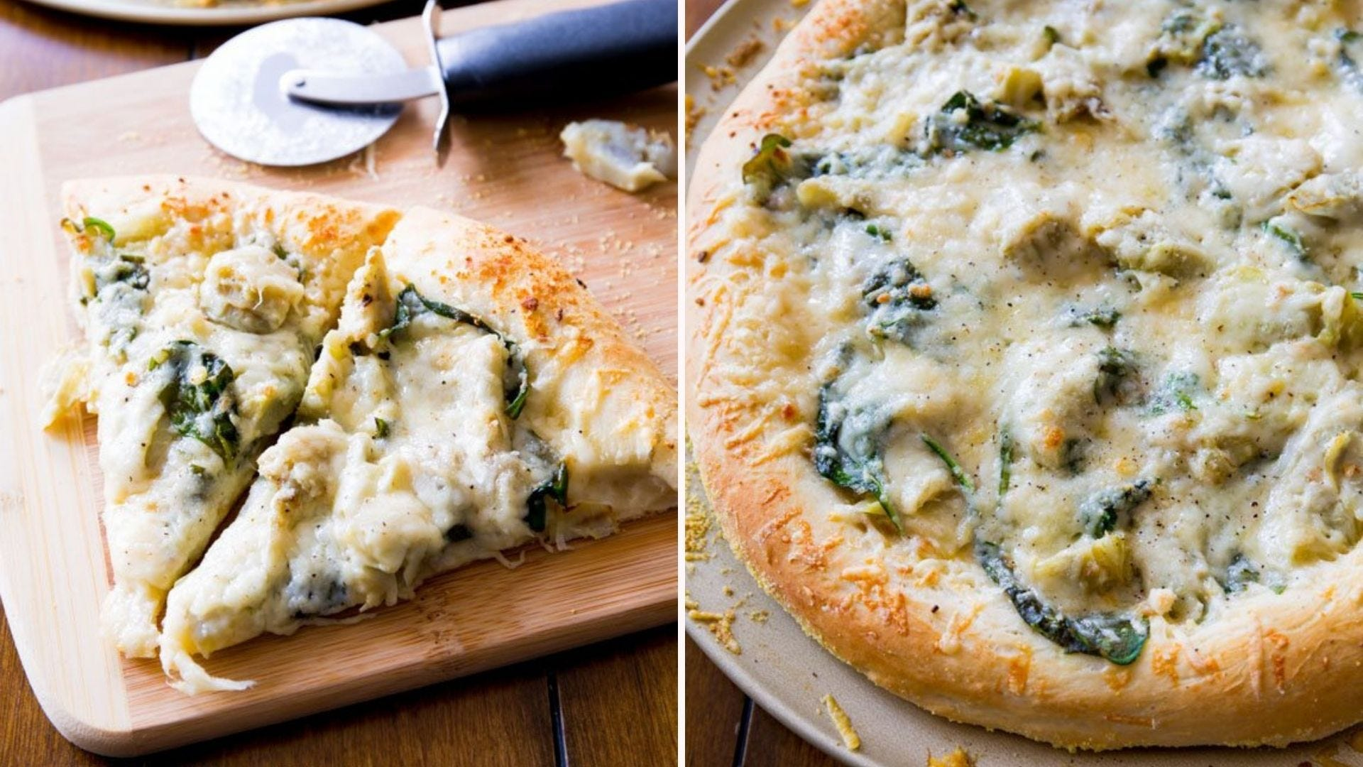Two images of spinach and artichoke pizza: The left image is of two slices with a pizza cutter in the background, and the right image is of a whole pizza.