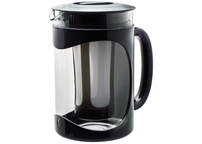 Short and wide cold brew coffee maker with a clear glass pitcher and fine mesh interior filter