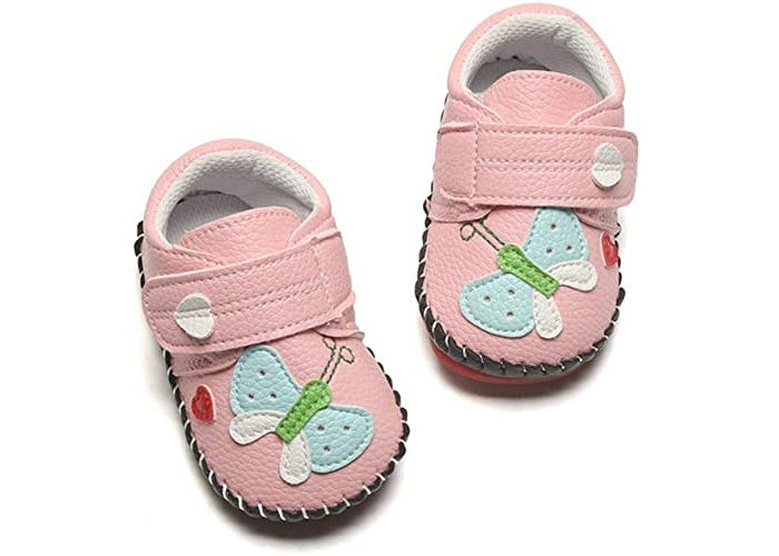 pink baby girl shoes with butterflies and straps