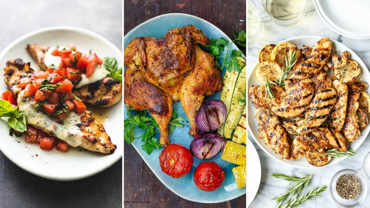 Three images: The left image is of bruschetta stuffed chicken by Le Creme de la Crumb, the middle image is of a grilled whole chicken by The Mediterranean Dish and the right image is of grilled honey mustard chicken by Damn Delicious.