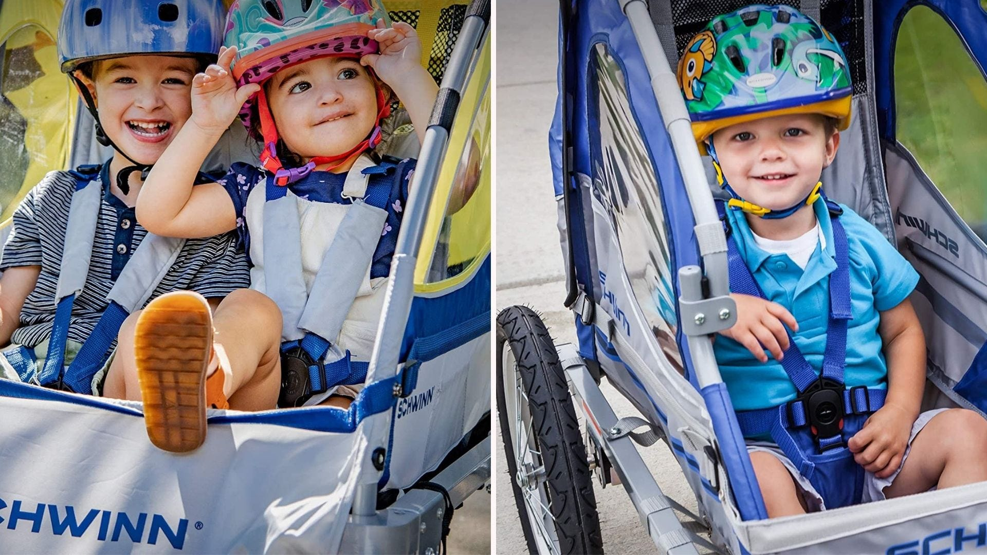 Two images of children riding in a Schwinn Trailblazer trailer. The left is a double seater, and the right image is of a single seater.