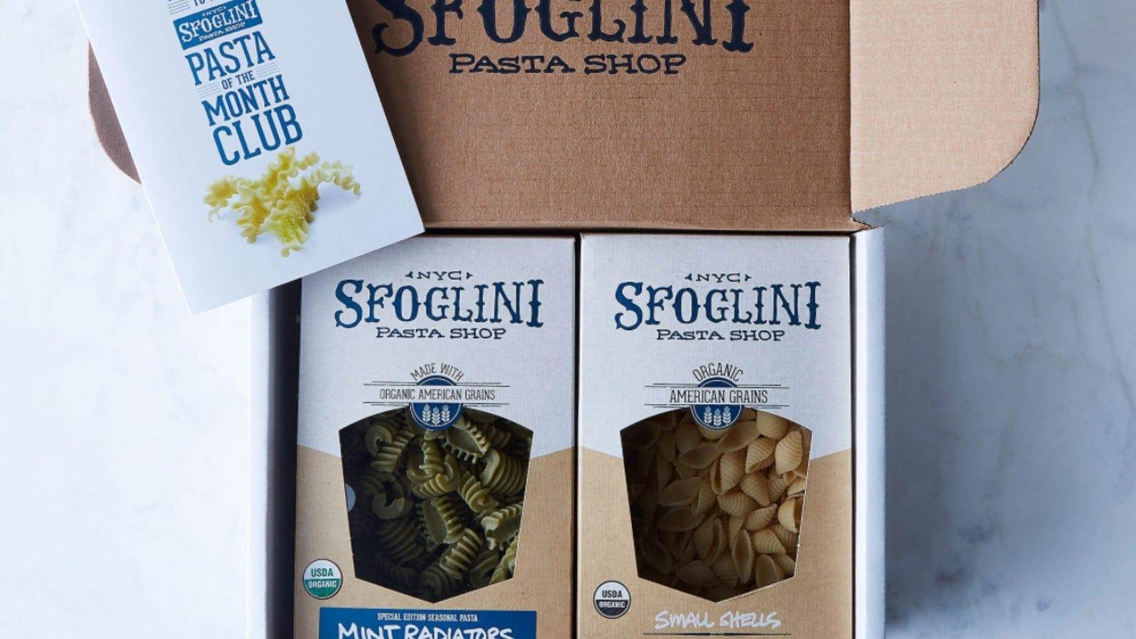 two different boxes of Sfoglini pasta