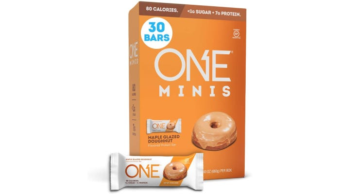 A 30-count of miniature donut-flavored protein bars that are half the size of standard options.