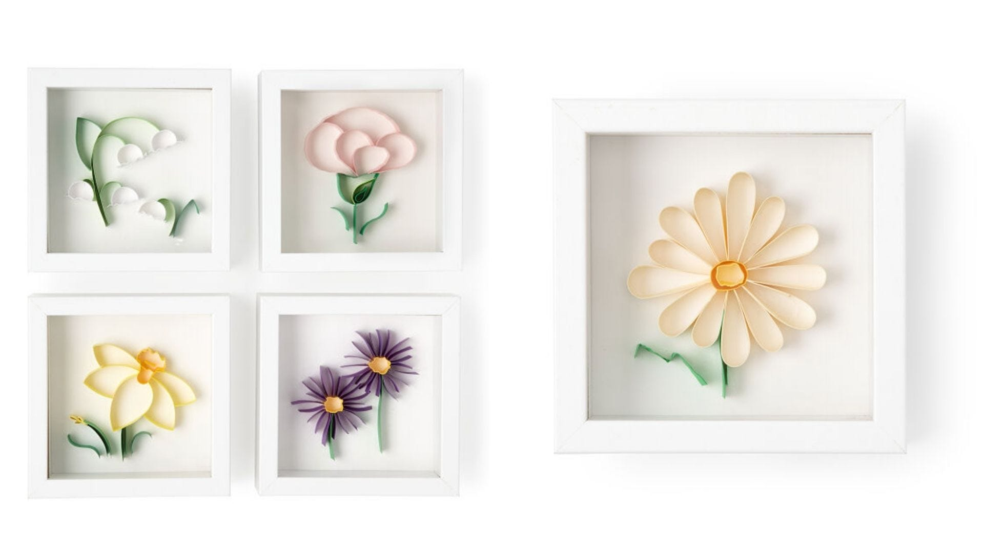 Five square photo frames with flower art.