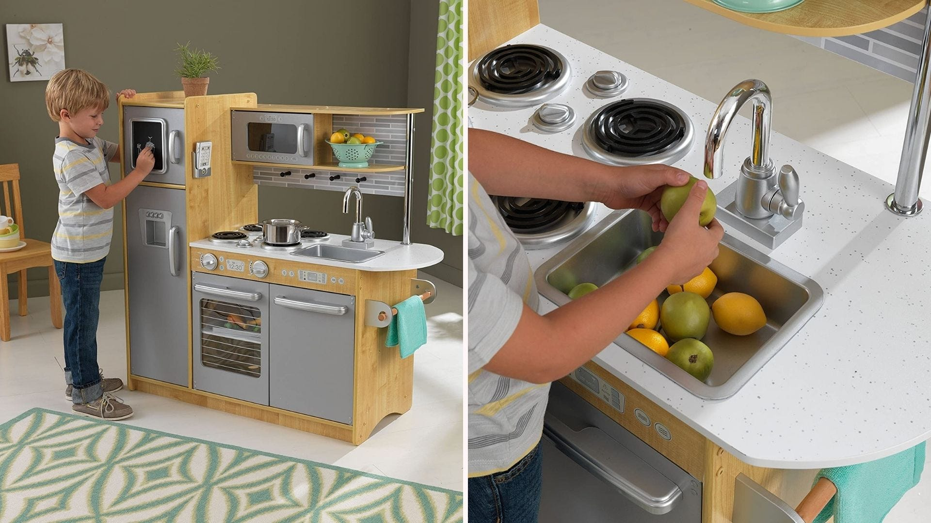 Two images of a KidKraft kitchen set: the left image is of a young boy playing at the kitchen and the right image is a closeup of the child pretending to wash fruits in the play kitchen sink.