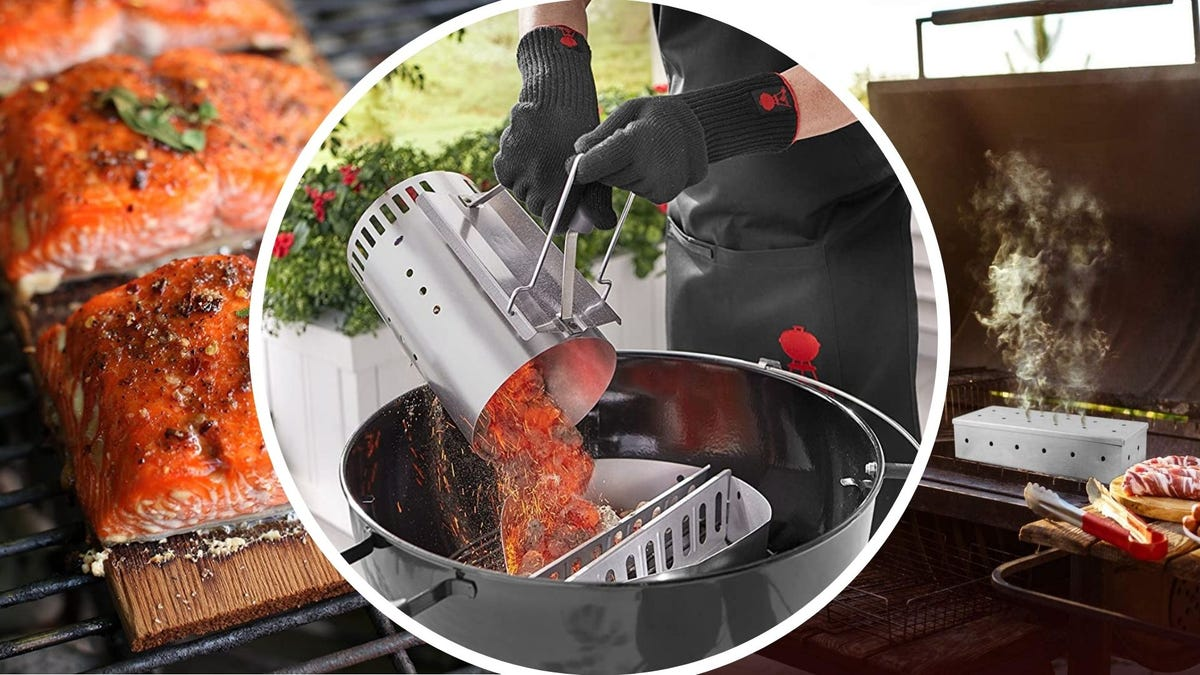 Three images: The left image is of three salmon filets on a cedar plank by Wood Fire Grilling Co. The middle image is of someone pouring hot coals from a Weber chimney starter into a charcoal grill and the right image is of a Kaluns wood chip smoker on a grill.