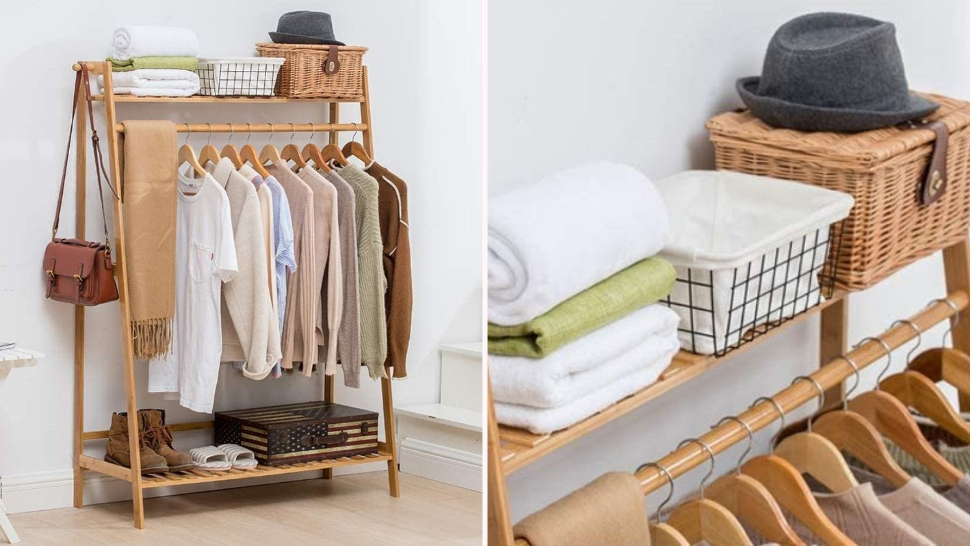 Bamboo wood clothing rack filled with shirts.