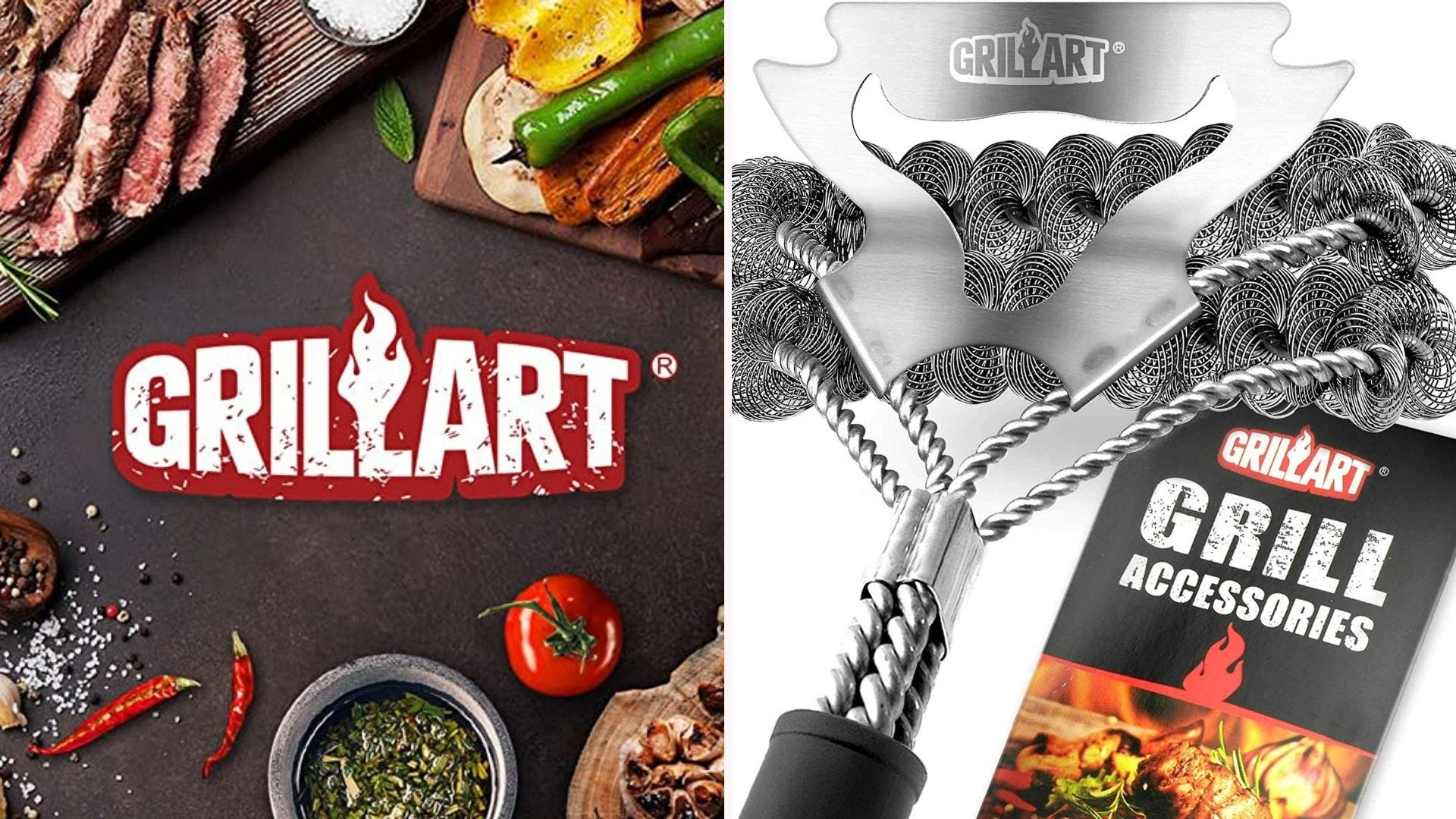 Two side by side images: the left image is of the Grillart logo surrounded by different grilling ingredients and the right image is of a Grillart bristle-free cleaning brush near a pamphlet.