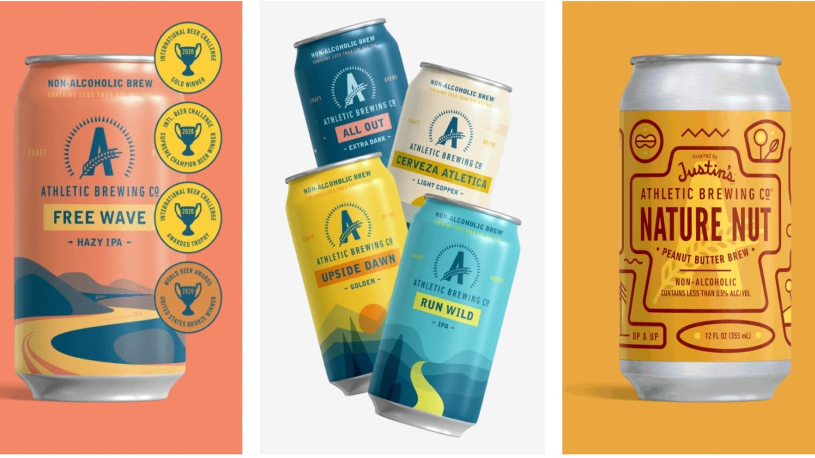 Three side by side images of Athletic Brewing Co. non-alcoholic beers.