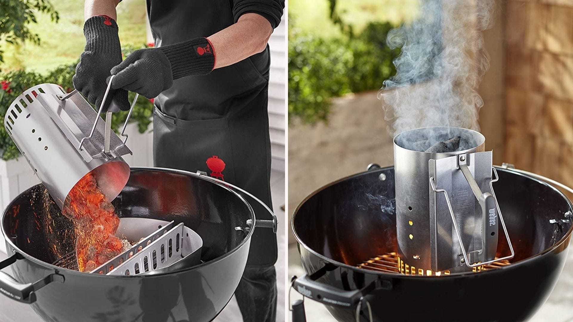 Two images: The left image is of someone pouring hot coals out of a Weber chimney starter and the right image is of the chimney starter smoking hot and ready to pour into the charcoal grill.
