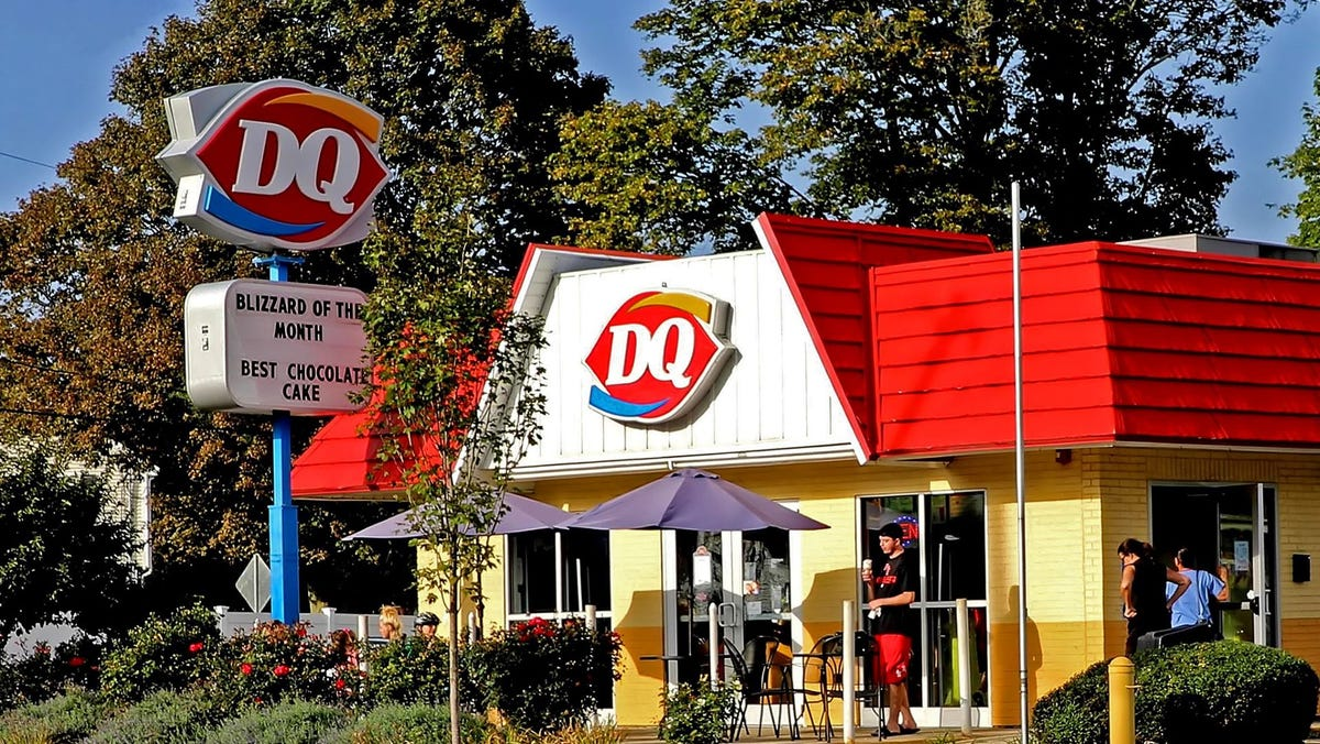 A Dairy Queen restaurant advertising its Best Chocolate Cake Blizzard of the Month.