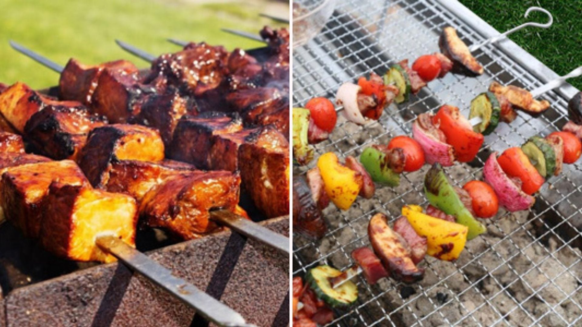 Two side by side images displaying Lanney stainless steel kabob skewers.